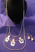 Vintage Silver Tone SNOWMAN Necklace & Earring Set - $10.76