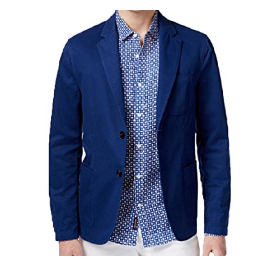 Primary image for Michael Kors Men's Classic-Fit Garment Dyed Sport Coat, Tidal Blue, Size 42R
