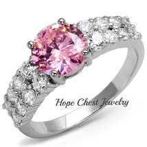 SILVER TONE 1.5 CARAT ROUND PINK CUBIC ZIRCONIA FASHION RING SIZE 5, 6 - $12.95