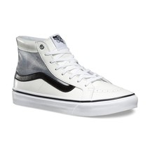 VANS Sk8 Hi Slim Cutout (Mesh) White/Black Leather Skate Shoes WOMEN'S 9 - $54.95