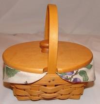 Longaberger Basket w/ Wood Lid Plastic Liner 1999 American Cancer Societ... - $18.76