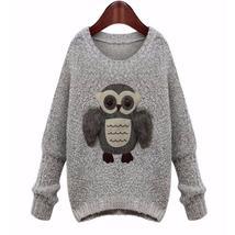 Stylish  Owl Oversize Women Fall Fashion Pullover - $25.00