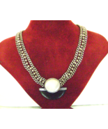 Vintage Ebony Mother of Pearl Silver Chain Mid Century Modern Necklace - $49.00