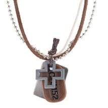 Brown Leather Cross Necklace - $20.00