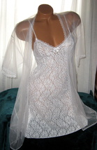 White Stretch Lace Chemise and Chiffon Robe Set M Short Nightgown  - $22.50