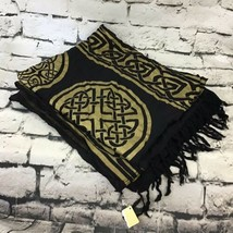 Black Gold Printed Sarong Wrap Tassel Trim Beach Wear Or Decorative Wall... - $19.79