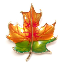 Brooch Green Orange Red Gold Autumn Falling Maple Leaf Retro Lovely Suit Pin - $8.99