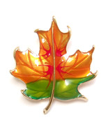 Brooch Green Orange Red Gold Autumn Falling Maple Leaf Retro Pin Lovely ... - $8.99