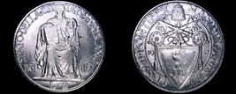 1942 Vatican City 2 Lire World Coin - Catholic Church Italy - Pius XII - $21.99