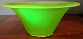 Vaseline GlassAntique 1900's Bohemian Walther & Sohne Satin Green Compot... - $257.13