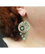 brass earrings boho green aventurine. - $30.00