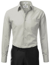 Berlioni Italy Men Grey Classic French Convertible Cuff Solid Dress Shirt - M image 2