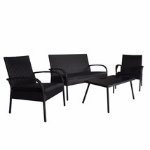 4PC Wicker Rattan Patio Set with Detachable Sofa Glass Table Loveseat, B... - $169.99