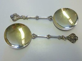 Pair 1894 William Hutton APOSTLE Sterling Silver Gilt Spoon w Angel Cherub - $142.49