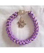 GBE Gold links interwoven w/purple satin bracelet & ribbon charm dangle ... - $6.92