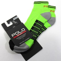 RALPH LAUREN POLO SPORT Mens Performance Quarter Socks Arch Neon Green  - $14.00