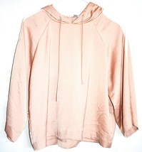 Forever 21 Contemporary Pink Hooded Satin Long Sleeve Top Hoodie Size S image 1