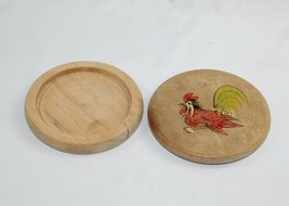 "Vintage Primitive Fighting ROOSTER Chicken Game Cock HAMBURGER MOLD Wood 5"" - $12.61"