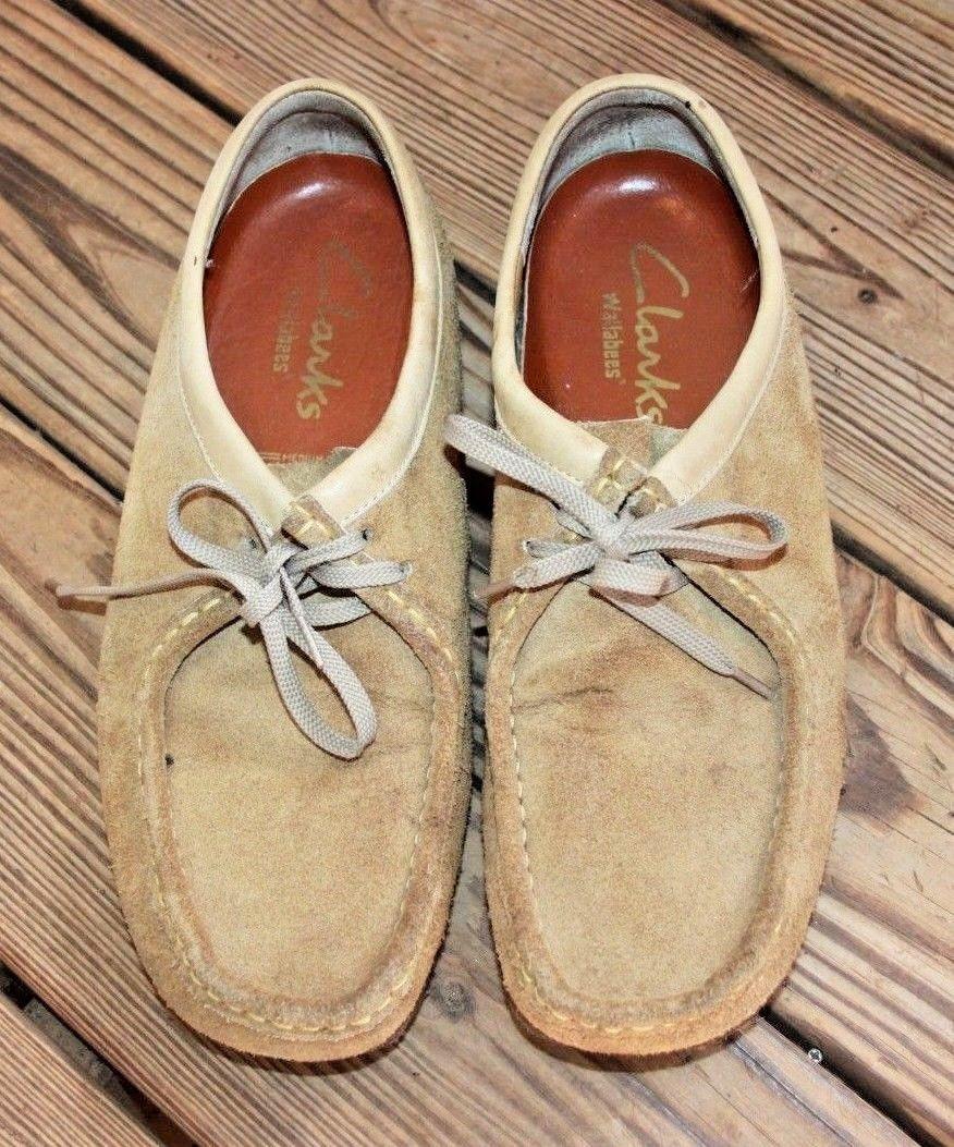 Clarks Size 11.5 Originals WALLABEE 36405 Sand Beige Suede Crepe Soles Shoes