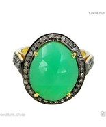 14k Gold 3.3ct Chrysoprase Gemstone & Diamond Pave Cocktail Ring Sterlin... - $158.95