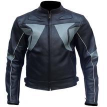 Black Gray Stripes Biker Leather Jacket - $300.00