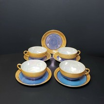 Peach and Blue Lusterware Porcelain 4 Cups and 5 Saucers Made in Japan A... - $29.99