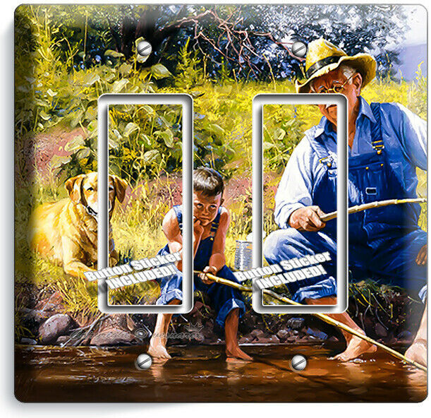GRANDPA GRANDSON DOG FISHING ON A LAKE LIGHT SWITCH OUTLET WALL PLATE ROOM DECOR