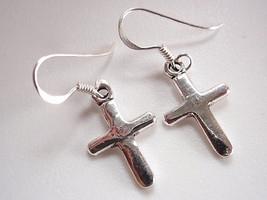 Christian Cross 925 Sterling Silver Dangle Earrings Corona Sun Jewelry - $11.87