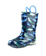 Western Chief Shark Infested Lighted Boys Boots Navy, Size 8 Kids - $31.68
