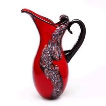 "Luxury Lane Hand Blown Red Art Glass Pitcher Vase 15"" tall - $79.42"