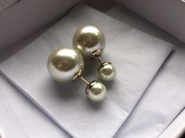 Auth Christian Dior Mise En Dior Tribales Double Pearl EARRINGS Classic Gold image 5