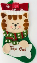 Christmas Stocking Top Cat Holidays Pet Kitten Kitty Scarf Paw Prints Ho... - $25.73