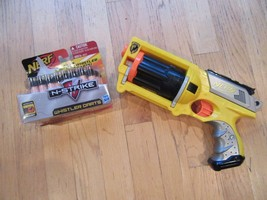 6P/NERF N-STRIKE MAVERICK REV-6 REVOLVER/DART GUN/WITH 35 WHISTLER DARTS! - $24.70