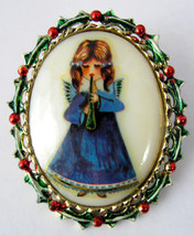 Christmas Angel Pin Porcelain Oval Painted Holly Frame 1960s Musician Ho... - $28.00