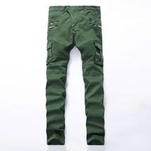 2018 Bright skinny army green men biker jeans men's personality rock style jean  - $52.02