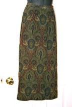Jones New York, vintage, faux wrap, maxi skirt, silk, paisley, olive, li... - $30.00