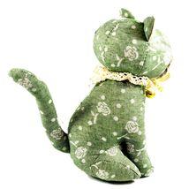 Delton Green Floral Fabric Kitty Cat Jingle Bell Small Door Stopper Doorstop image 4