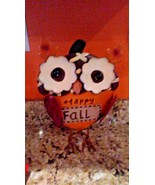 Owl Statue Figurine Sculpture New Whimsical Metal & Burlap Fall Colors 3D - $8.90