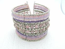 VTG Multi-Colored Pink Purple Glass Bead Beaded Cuff Bracelet - $29.70