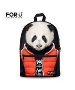 Cool Panda Print Fashion Backpack Canvas Kids School Bag Back to School - $34.99