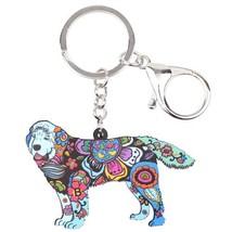 Newfoundland Dog Key Chain 6 Beautiful Color dog art dog painting - $9.99