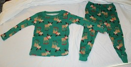 NEW Carters Baby Christmas Moose Pajamas Long Sleeve Cotton Sizes 12 18 ... - $7.19