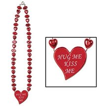 "Club Pack of 12 Red and White Heart Necklace Valentines Day Accessories 22"" - €38,14 EUR"