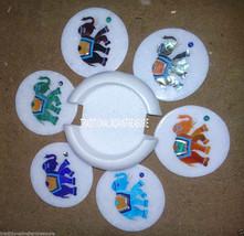 White Marble Coffee Coaster Set Mosaic Elephant Art Inlay Pietradure Decor Gifts - $301.96
