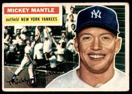 Vintage MLB 1956 Topps #135 Mickey Mantle Good White Back - $474.75