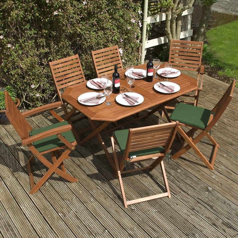 Patio Folding Dining Set & Cushions Garden Wooden Table Chair 6 Seater Furniture