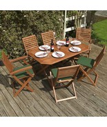 Patio Folding Dining Set & Cushions Garden Wooden Table Chair 6 Seater F... - $428.73
