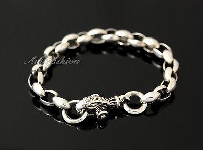 Mens Sterling Silver Bracelet Handcrafted Link Chain Hip Hop Biker Beachwear b08 image 5