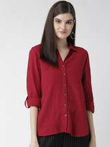 Red Rayon Slub Shirt With Full Sleeves - $33.00