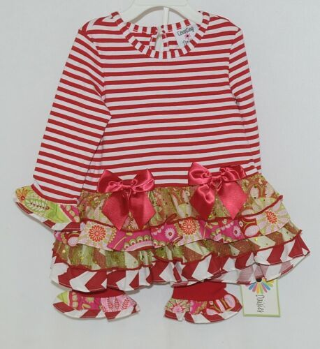 Rare editions Counting Daisies H170094 2 Piece Christmas Outfit Size 18 Months
